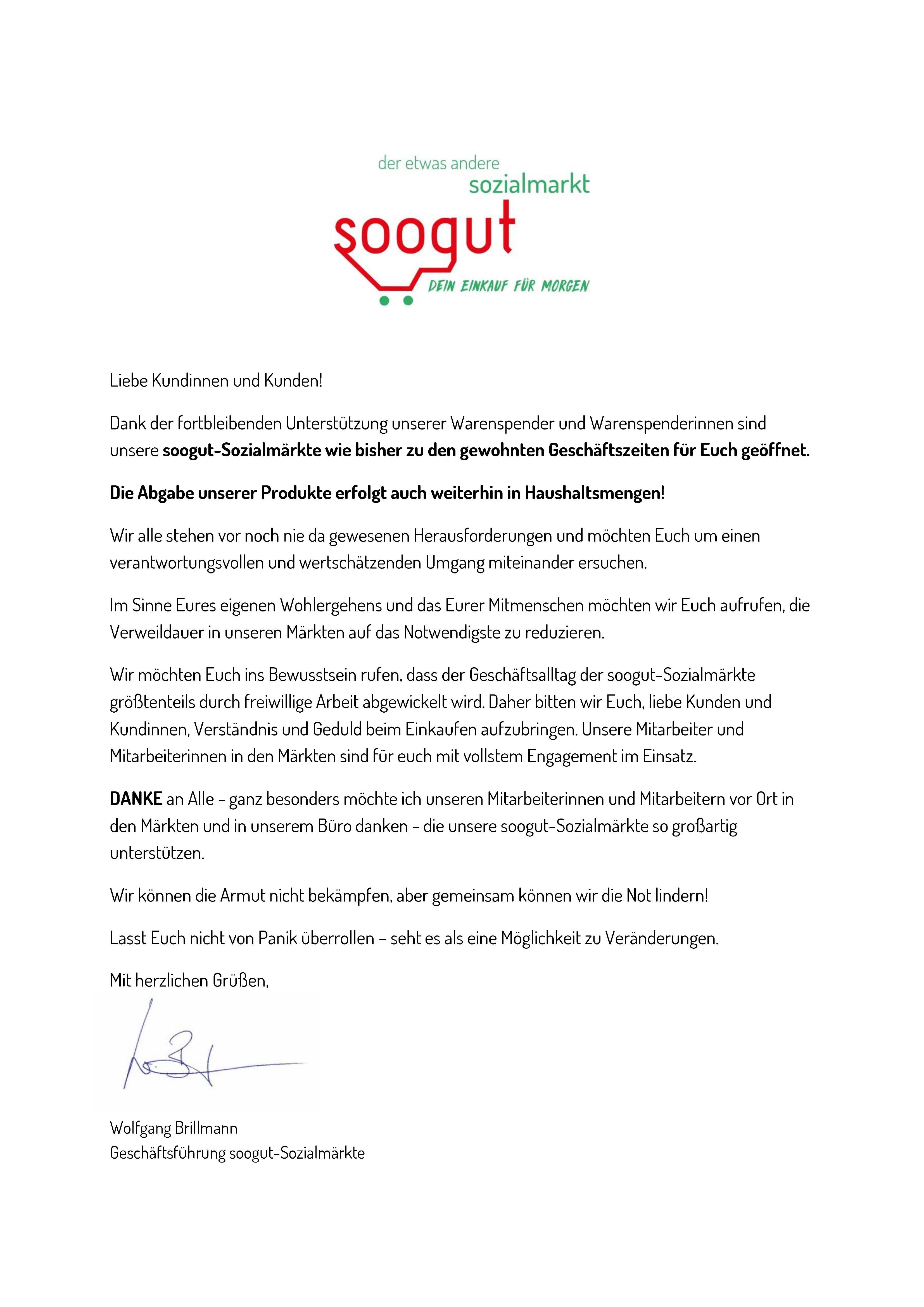 Die soogut-Sozialmärkte bleiben zu den gewohnten Geschäftszeiten geöffnet