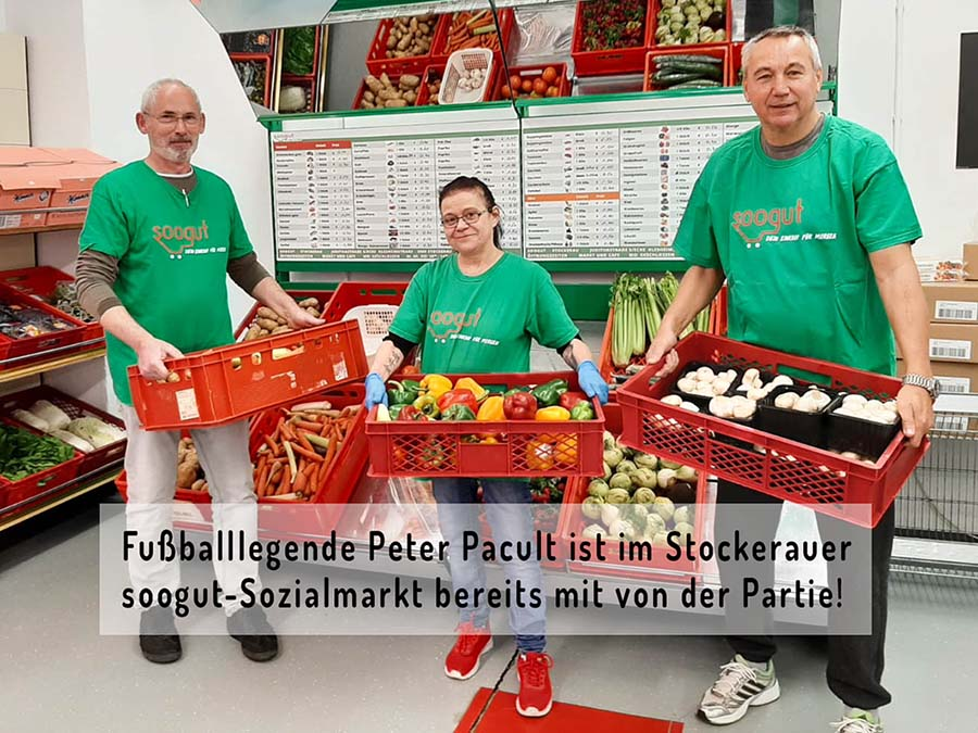 Fußballlegende Peter Pacult ist im Stockerauer soogut-Sozialmarkt bereits mit von der Partie.