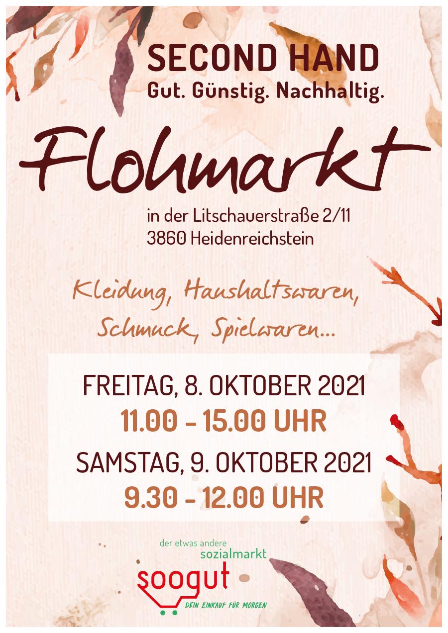 Flohmarkt im soogut-Sozialmarkt Heidenreichstein am Freitag 8.Oktober und Samstag 9.Oktober 2021