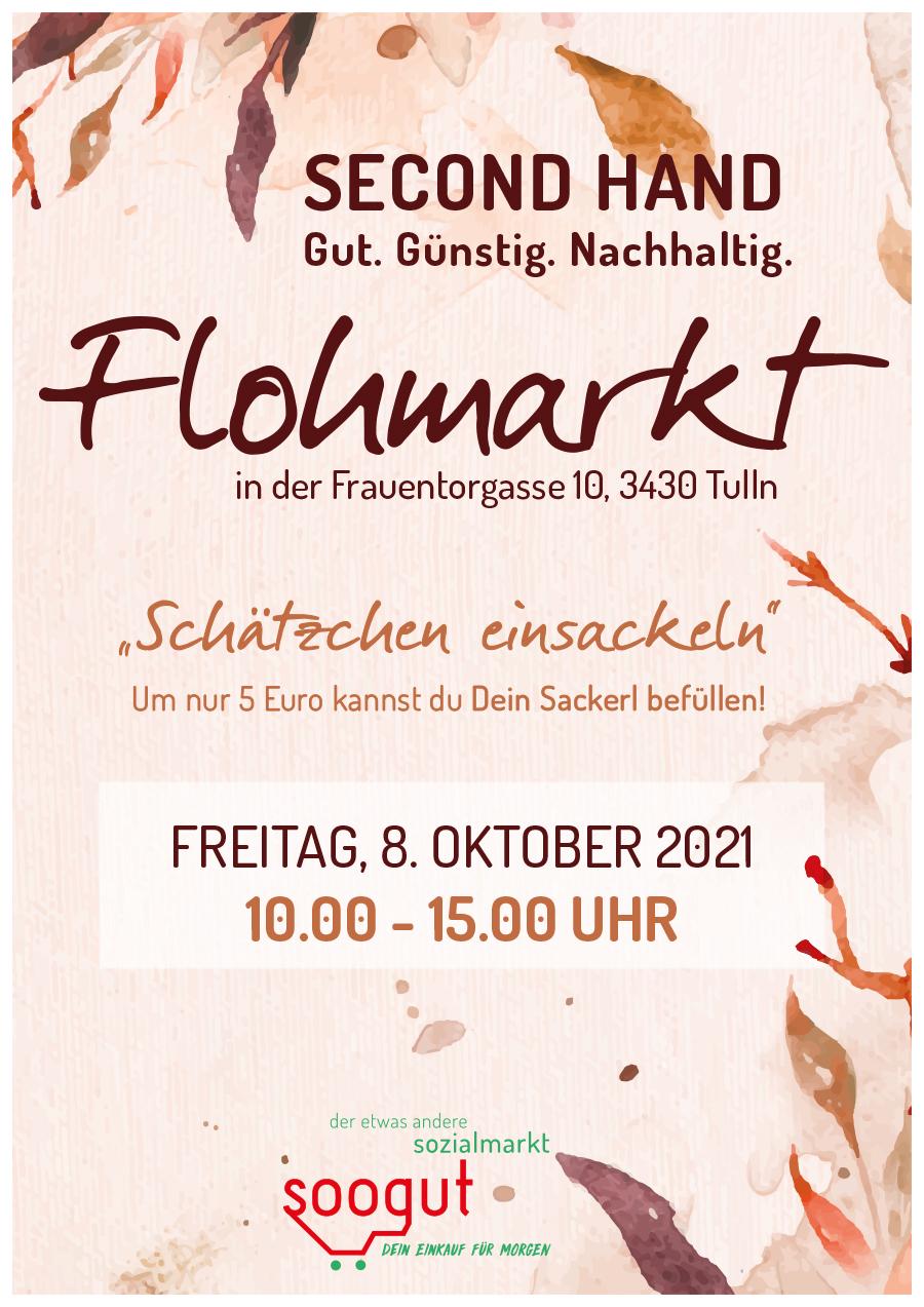 Flohmarkt im soogut-Sozialmarkt Tulln am Freitag 8.Oktober 2021