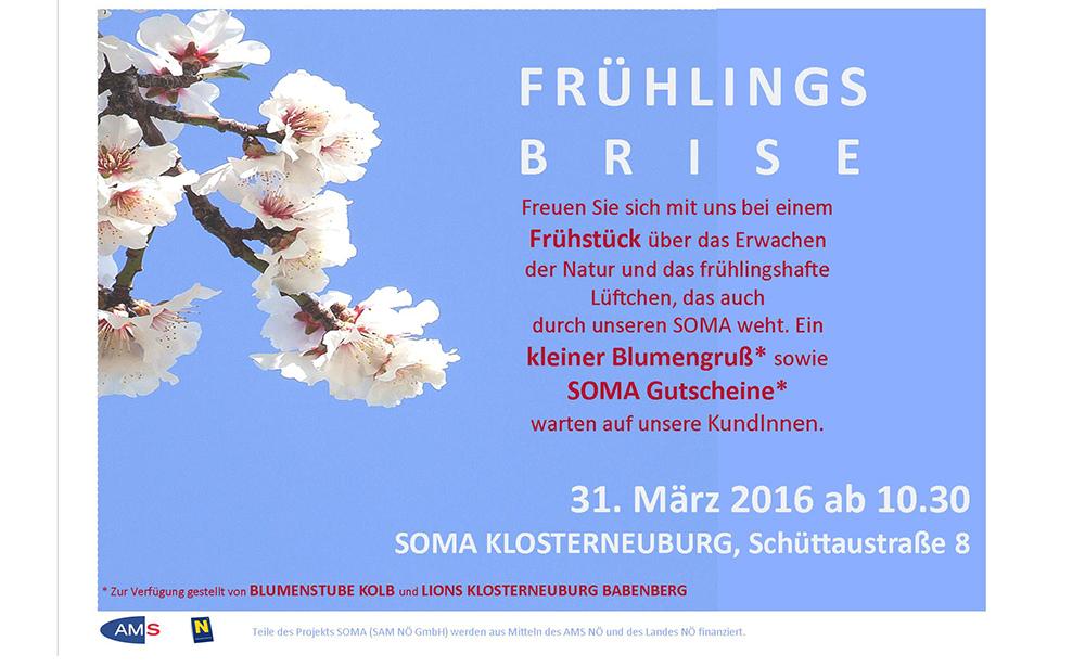 Einladung zur Frühlingsbrise am 31. März im SOMA Klosterneuburg