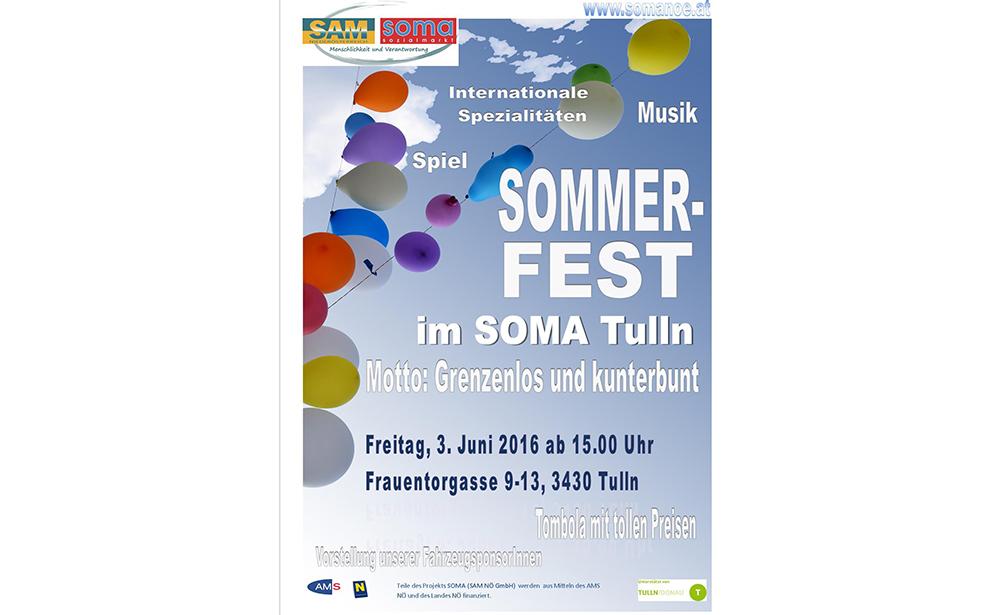 Plakat Sommerfest SoMA Tulln am 3. Juni 2016