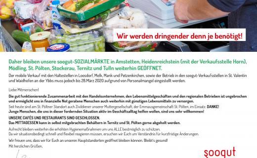 Die soogut-Sozialmärkte bleiben weiterhin geöffnet