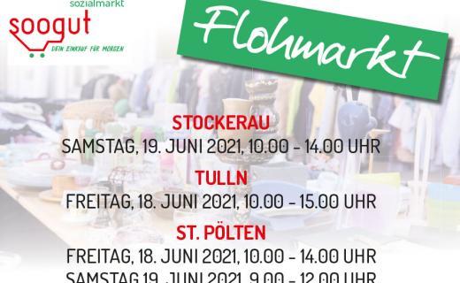 Flohmarkt in den soogut-Sozialmärkten in St. Pölten, Tulln und Stockerau