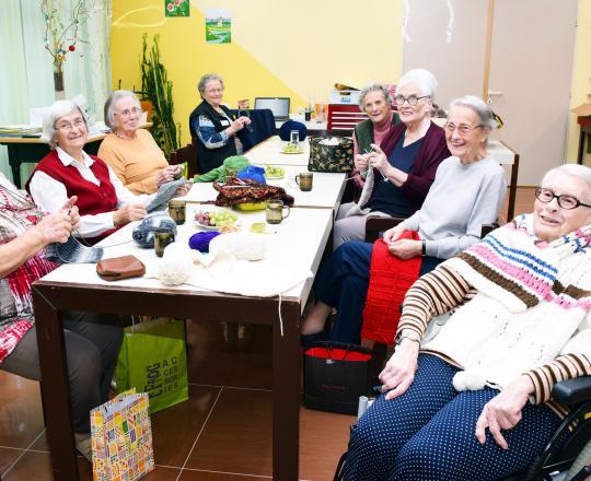 Helga Waltner, Elisabeth Radman, Katharina Vana, Leopoldine Fischer (Ehrenamtliche Helferin), Frau Hangl (Besucherin), Erika Schader, Anna Starsich, Margarete Fleming