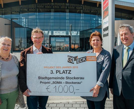 Stadträtin Elfriede Eisler, G3 Centermanager Gernot Jung, Regionalmanagerin SOMA Stockerau Uli Stambera und Bürgermeister Helmut Laab