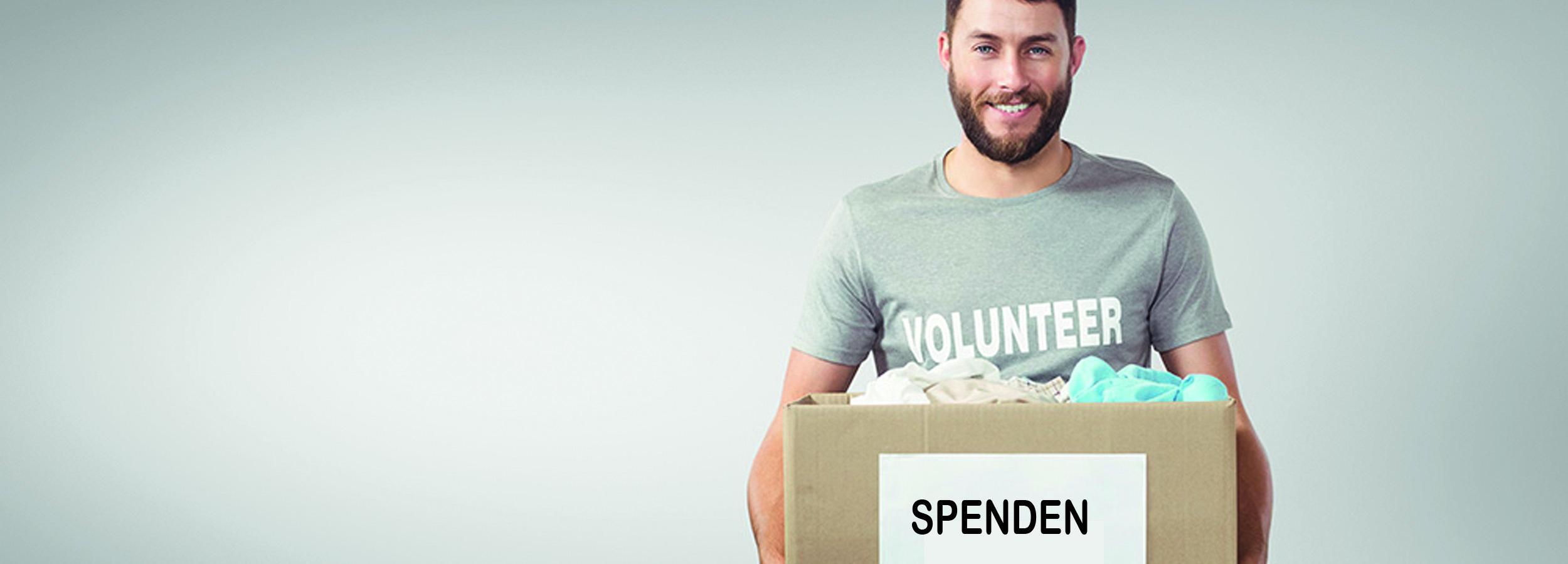 Mann mit einer Spendenbox